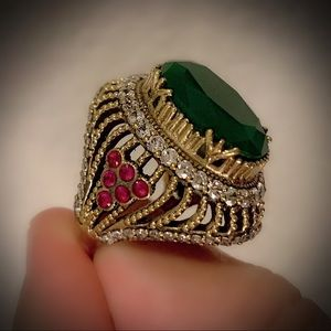 Earth Goddess Emerald Ruby Sterling Silver Ring